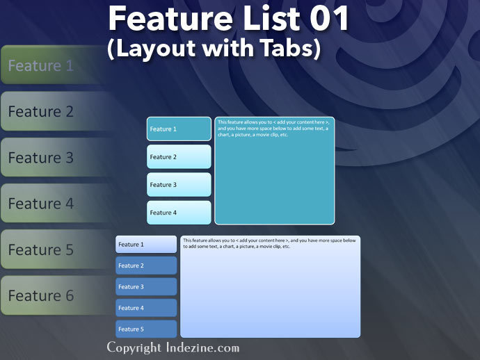 Feature List 01 (Layout with Tabs)