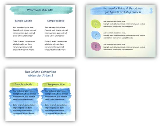 Watercolor Graphics can replace typical PowerPoint elements