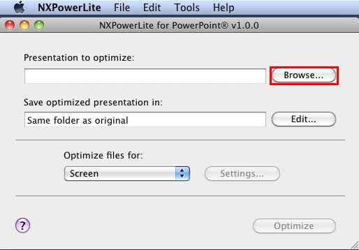 NXPowerLite for PowerPoint interface