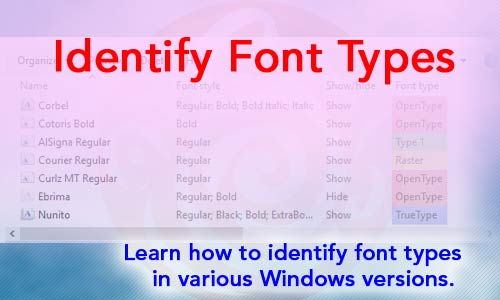 Identify Font Types in Windows