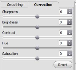 Correction tab parameters