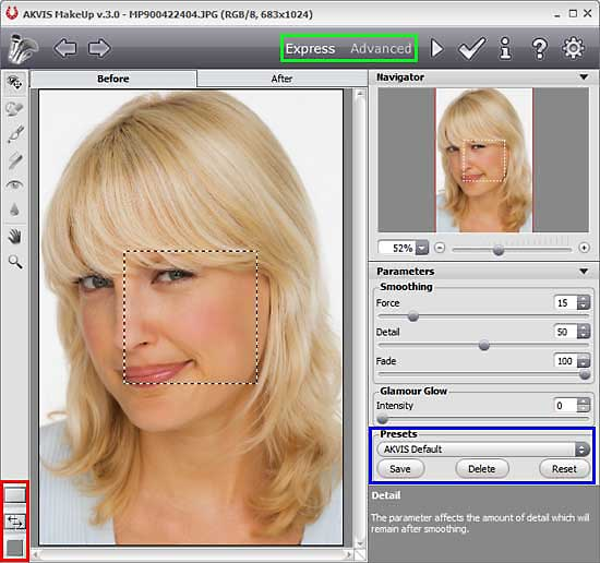 AKVIS MakeUp 3 interface