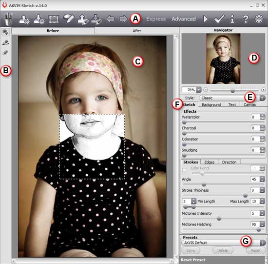 AKVIS Sketch 14 interface with Advanced editing mode active