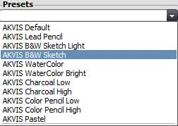 Presets drop-down list