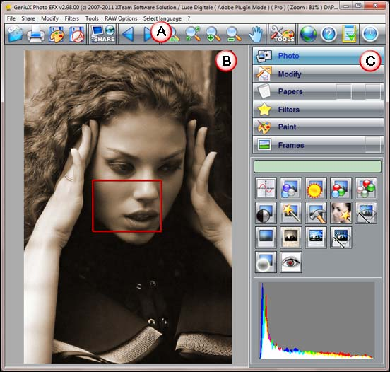 GeniuX Photo EFX 2 interface