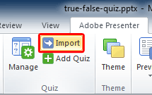 Import Quiz button within the Quiz group