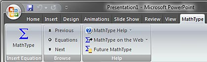 MathType tab in the Ribbon