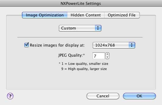 NXPowerLite Settings dialog box