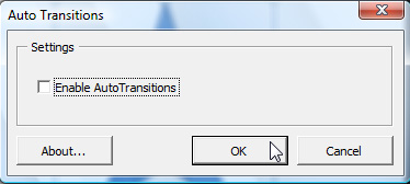 Auto Transitions dialog box