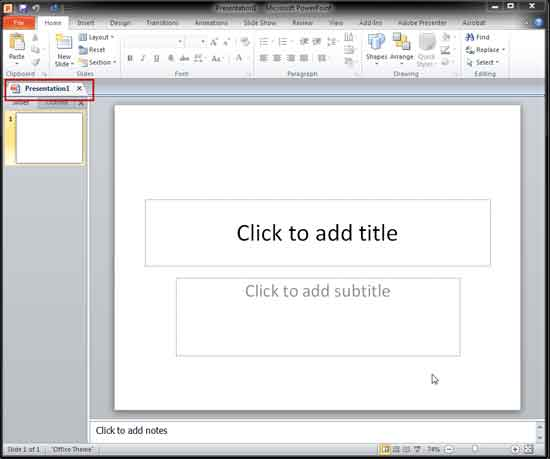 PowerPoint 2010 interface with tab