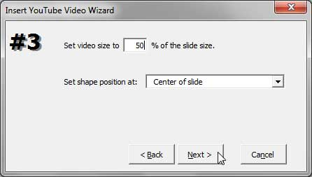 Options to set YouTube Video size and position on PowerPoint slide