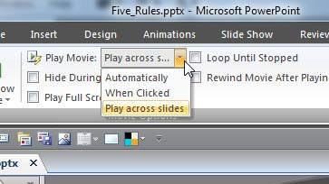Play across slides option selected