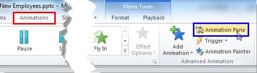 Animation Pane button