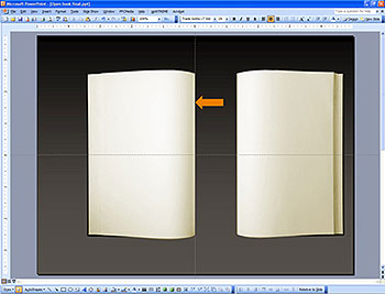 Align both halves of the page spread in PowerPoint, positioning the spine along a vertically-centered guideline