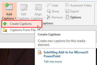 Create Captions option selected