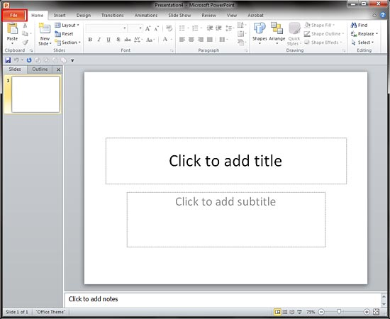 File button in PowerPoint 2010