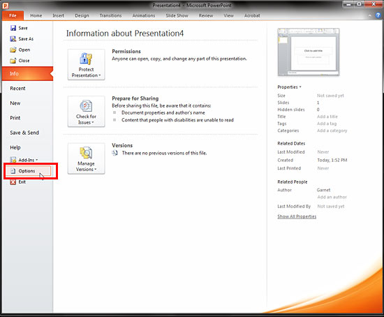 Select option within file menu in PowerPoint 2010
