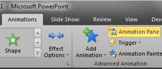 Animation Pane button within Animations tab