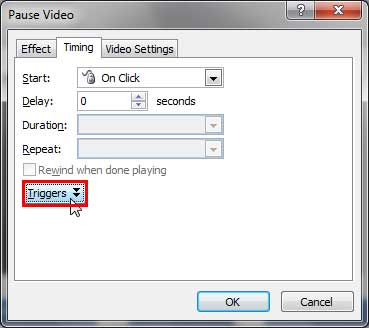Triggers button within the Timing tab of the Pause Video dialog box