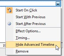 Hide Advanced Timeline option selected