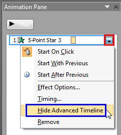 Hide Advanced Timeline option to be selected