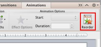 Reorder button within the Animations tab