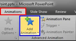Add Animation button within the Animations tab