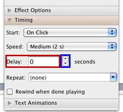 Delay option within the Timing pane