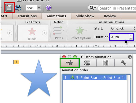 Animation selected within the Custom Animation tab of the Toolbox