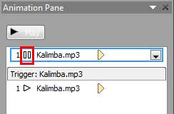 Animation Pane displaying Pause media action added to the audio clip