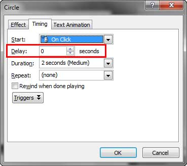 Delay option within your animation dialog box