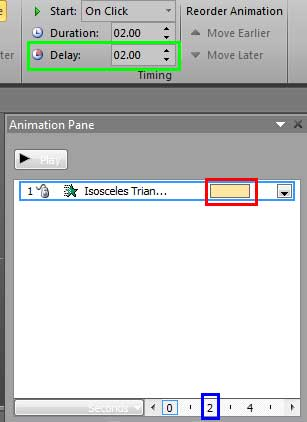 2 second delay is applied to the selected animation