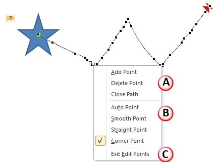 Motion Path in Edit Points mode, with point editing options