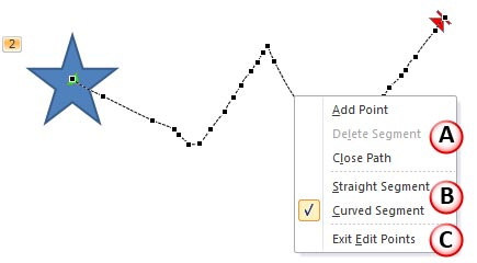 Motion Path in Edit Points mode with line segment editing options