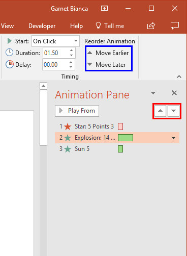 Animation selected within the Animation Pane