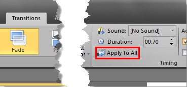 Apply to All option within the Transitions tab
