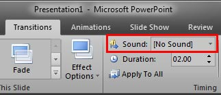 Sound option within the Transitions tab