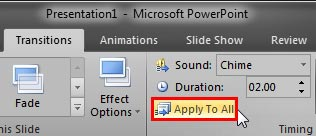 Apply To All button within the Transitions tab
