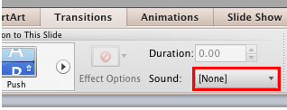 Sound button within the Transitions tab