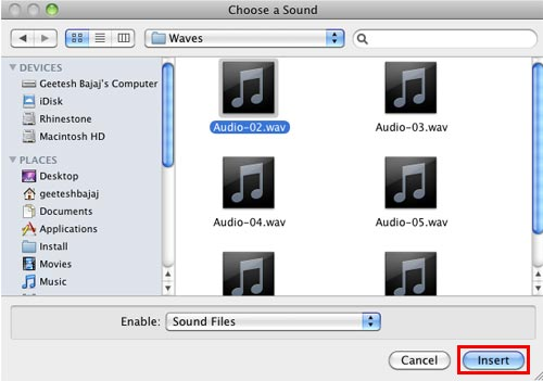 Choose a Sound dialog box