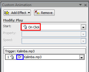 Custom Animation Task Pane displaying animation event and sound action of the selected sound clip