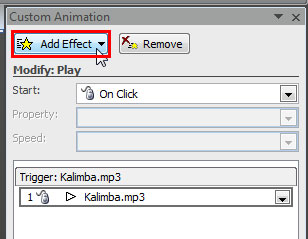Add Effect button within the Custom Animation Task Pane