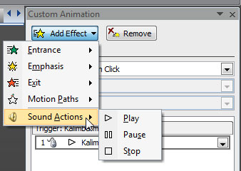 Sound Actions sub-menu within the Add Effects drop-down menu