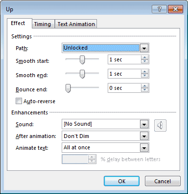 Effect tab within Up dialog box