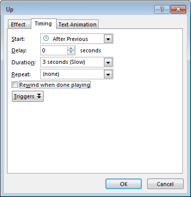 Timing tab within Up dialog box