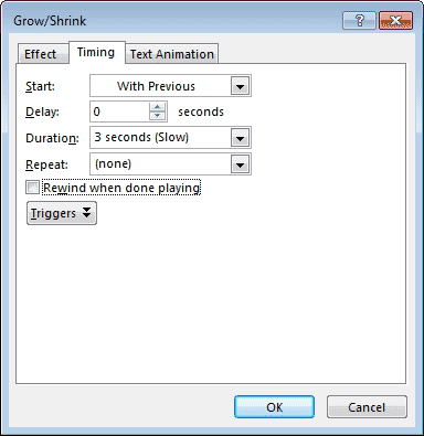 Timing tab within Grow/Shrink dialog box