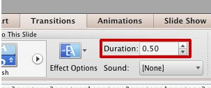 Duration box within the Transitions tab