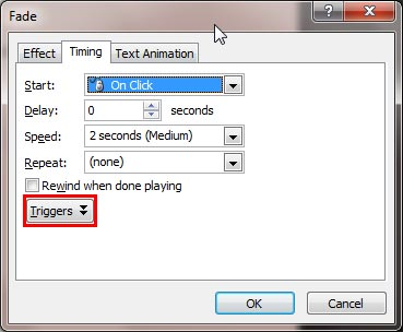 Triggers button within the Timing tab of the Fade dialog box