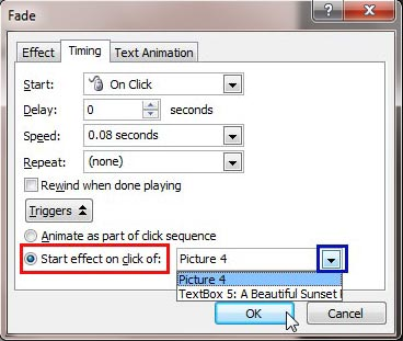 Start effect on click of option selected for the animation
