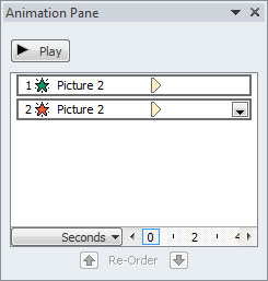 Applied animations listed within Animation Pane